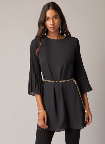 Chain Belt Tunic, Black,  tunic, chiffon, crepe, flared sleeves, 3/4 sleeves, chain belt, keyhole, fall winter 2020
