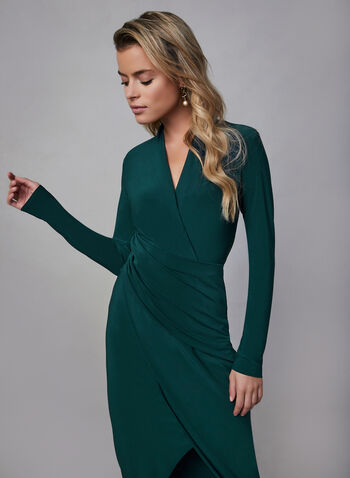 Joseph Ribkoff -  Long Sleeve Wrap Dress, Green, hi-res,  Joseph ribkoff, wrap dress, long sleeves, jersey, stretchy, pleating, day dress, fall 2019, winter 2019