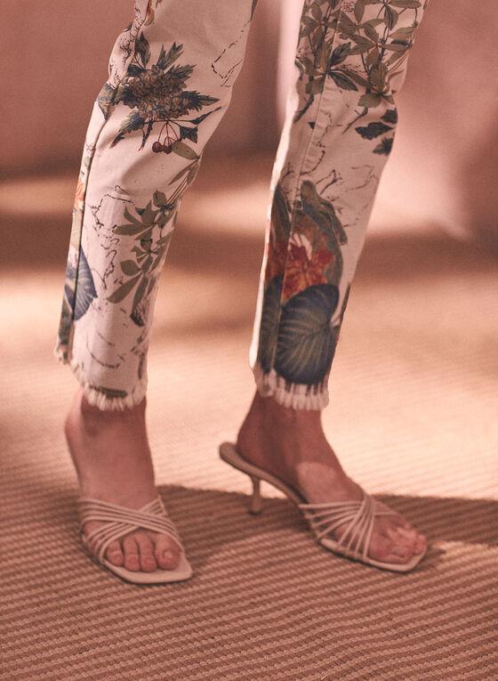 Leaf Print Jeans, White
