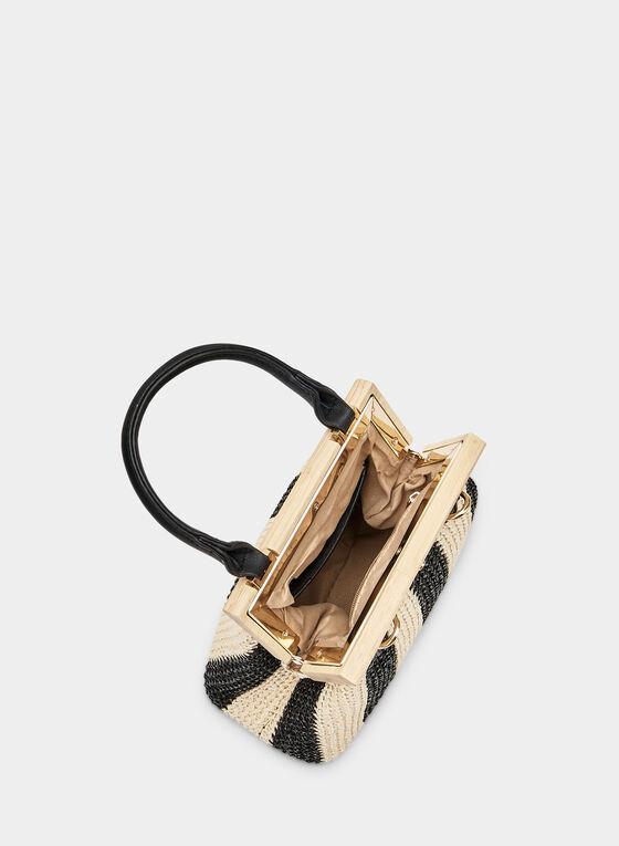 Sac trapèze motif rayé et bois, Noir, hi-res
