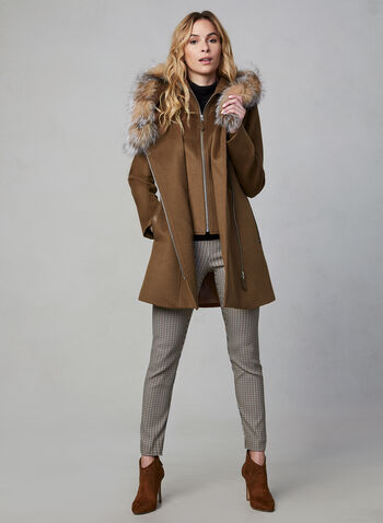 Sicily - Wool & Cashmere Blend Coat With Fur, Brown,  canada, wool coat, wool, cashmere, cashmere coat, genuine leather, leather, fur, fox fur, fall 2019, winter 2019