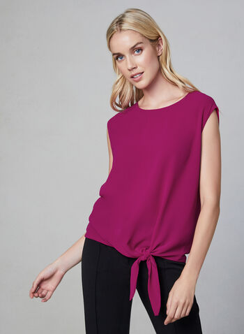 Tie Front Top, Red, hi-res,  fall winter 2019, crepe, sleeveless, blouse