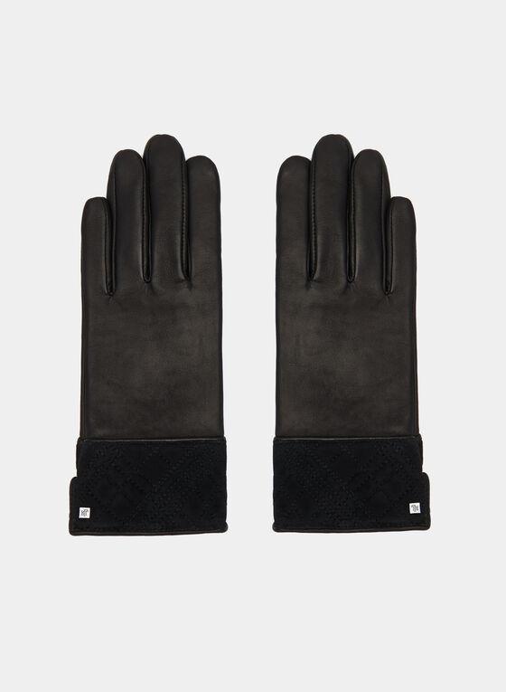 Suede Trim Leather Gloves, Black, hi-res