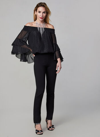 Off-the-Shoulder Chiffon Blouse, Black,  blouse, 3/4 sleeves, chiffon, off-the-shoulder, dots, fall 2019, winter 2019