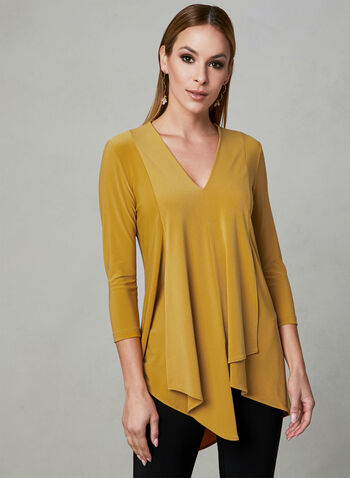 Joseph Ribkoff - Asymmetrical V-Neck Top, Gold, hi-res,  v-neck, 3/4 sleeves, layered, asymmetrical, spring 2019