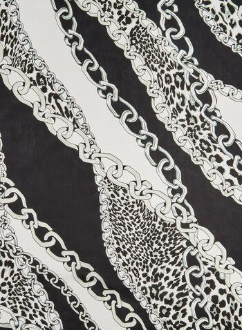 Foulard à imprimé léopard et chaînes, Noir, hi-res,  bordures contrastantes, carré, soyeux, automne hiver 2019