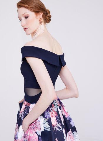 BA Nites - Robe col cœur ajustée et évasée avec jupe fleurie, Bleu, hi-res
