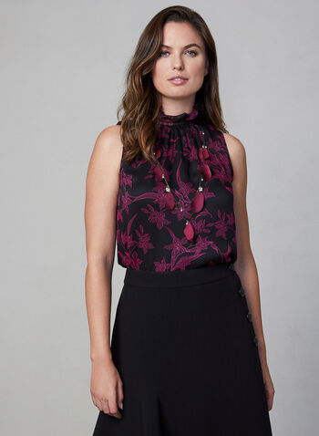 Vince Camuto - Floral Blouse, Black,  Vince Camuto, blouse, top, sleeveless, floral, mock neck, smocked, chiffon, fall 2019, winter 2019