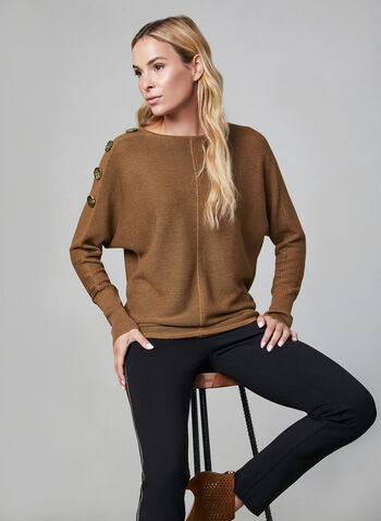 Ribbed Dolman Sleeve Sweater, Brown, hi-res,  long sleeves, knit, ribbed, dolman sleeves, buttons, fall 2019, winter 2019