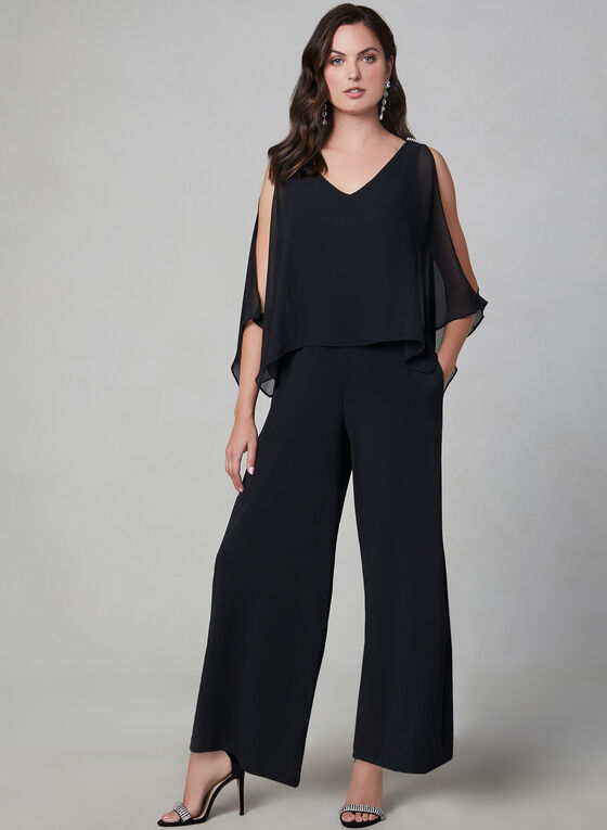 Cold Shoulder Jersey Jumpsuit, Black