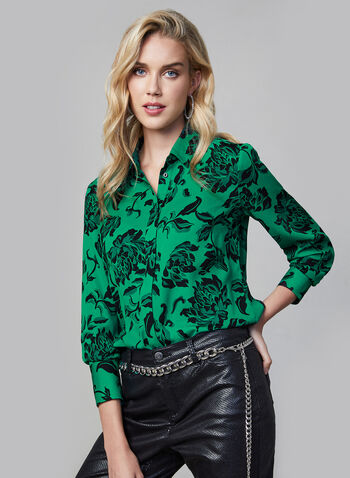 Floral Print Button-Down Blouse, Green, hi-res,  long sleeves, floral print, flower print, print, blouse, top, button-down top, silk, fall 2019, winter 2019