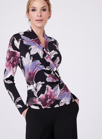 Floral Print Surplice Neck Top , , hi-res