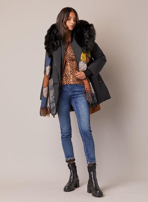 Sicily - Belted Pleather Faux Fur Coat, Black