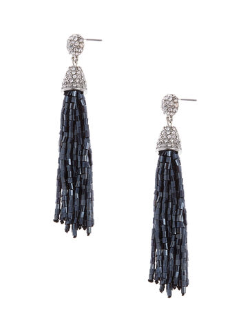 Beaded Tassel Drop Earrings, Grey, hi-res
