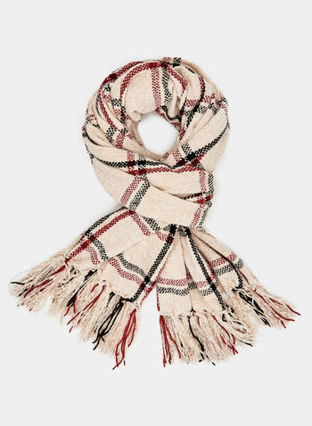 Plaid Knit Scarf, Off White, hi-res