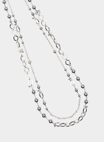Long Double Chain Necklace, Grey, hi-res