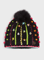 Floral Knit Hat, Black, hi-res