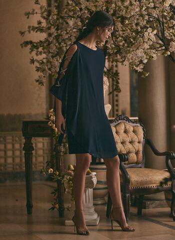 BA Nites - Robe en mousseline et détails cristaux, Bleu,  robe cocktail, ajours, cristaux, mousseline, col dégagé, printemps été 2020