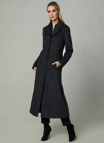 Anne Klein - Long Cashmere Blend Coat, Grey, hi-res