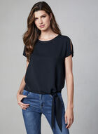 Frank Lyman - Tie Detail Blouse, Black, hi-res