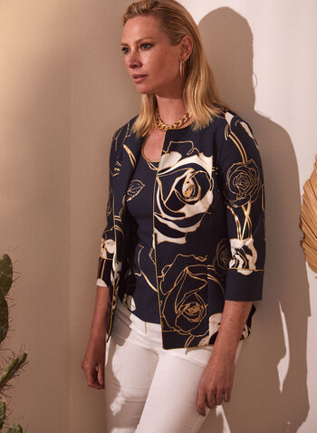 Floral Motif Top & Jacket Set, Blue,  spring summer 2021, made in canada, jacket, sleeveless, top, camisole, set, 2 piece, round neckline, scoop neck, 3/4 sleeves, contrast, lining, open at the front, floral, print, pattern, wide straps, foil print, foil