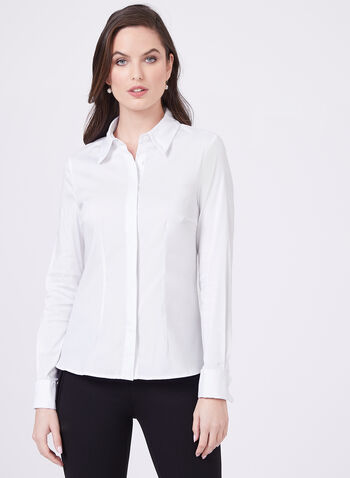 Long Sleeve Button Down Blouse, White, hi-res