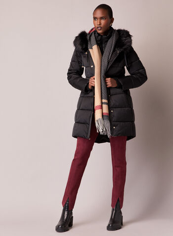 Tahari - Manteau matelassé à fausse fourrure, Noir,  automne hiver 2020, manteau, manteau d'hiver, Tahari, duvet, matelassé, végane, capuchon, fausse fourrure, Thermatec
