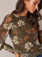 Floral Print Mesh Top, Green