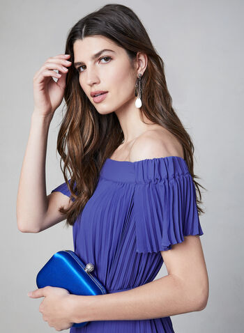 Maggy London - High Low Off-the-Shoulder Dress, Blue, hi-res