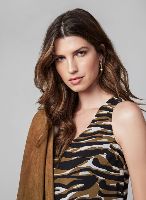 Tiger Print Sleeveless Top , Brown