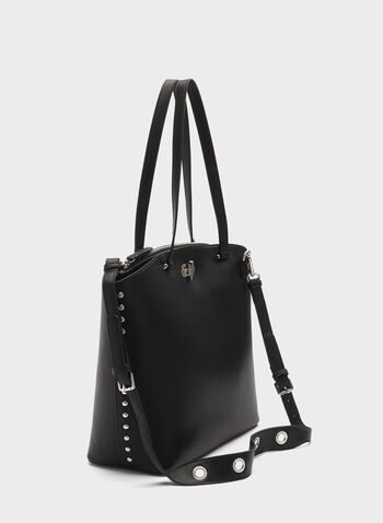 Metal Detail Tote Bag, Black, hi-res