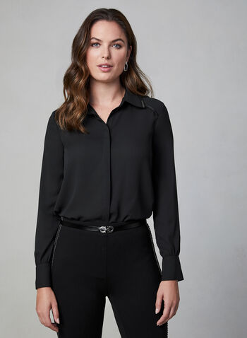 Zipper Trim Chiffon Blouse, Black,  long sleeves, rounded hemline, button down, zipper trim, fall 2019, winter 2019