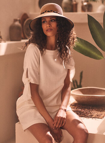 Linen Blend Tie Sleeve Dress, Off White,  dress, day, linen, tie sleeve, short sleeves, buttons, high low, spring summer 2021