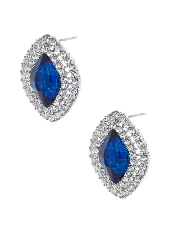 Stone & Crystal Stud Earrings, Blue, hi-res
