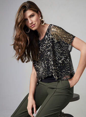 Leopard Print Mesh Top, Green, hi-res,  mesh, jersey, animal print, short sleeves, fall 2019, winter 2019
