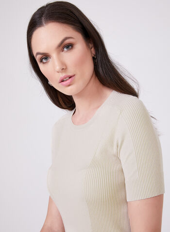 Ribbed Short Sleeve Sweater, Off White, hi-res