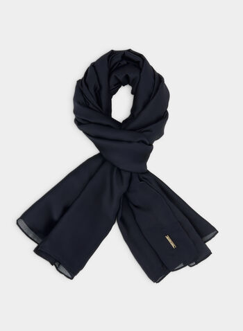 Oblong Satin Scarf, Blue,  fall winter 2019, satin, scarf