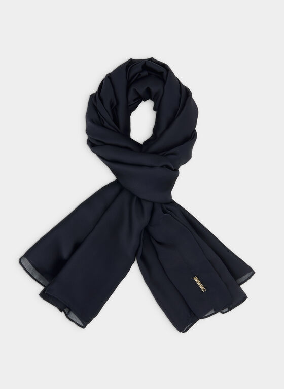 Oblong Satin Scarf, Blue