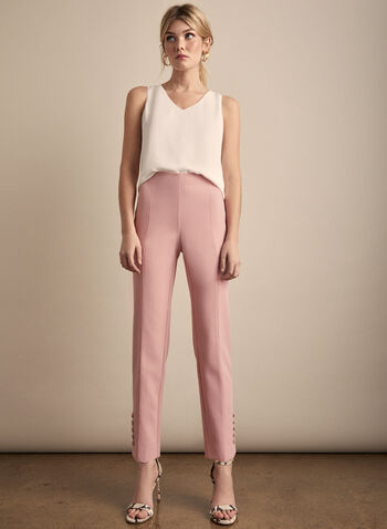 Slim Leg Pants, Pink,  pants, amber, slim legs, buttons, pleat, buttons, fall winter 2019
