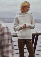 Button Detail Mock Neck Sweater, Off White