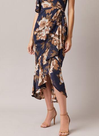 Betsy & Adam - Robe fleurie à une épaule dénudée, Bleu,  robe de soirée, fleurs, col asymétrique, épaule dénudée, volant, printemps été 2020