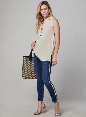 Sleeveless Linen Tunic, Grey, hi-res