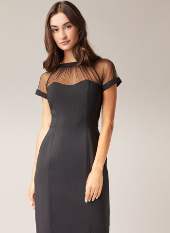 Maggy London - Illusion Neckline Dress, Black,  cocktail dress, short sleeves, illusion, mesh, crepe, spring summer 2020