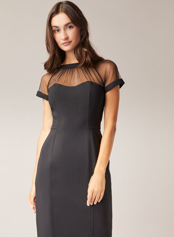 Maggy London - Illusion Neckline Dress, Black