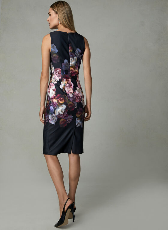 Adrianna Papell - Floral Print Fit & Flare Dress, Black, hi-res
