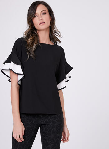 Short Sleeve Ruffle Detail Top, Black, hi-res