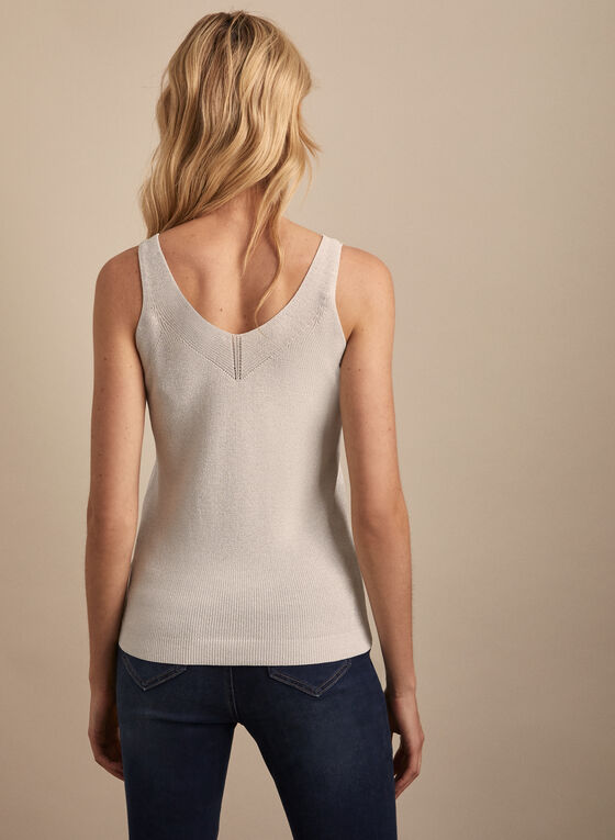 Metallic Knit Tank Top, White