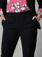 Slim Leg Crepe Pants, Black, hi-res