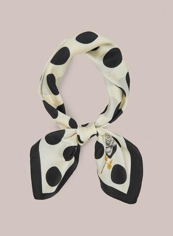 Foulard carré motif pois, Noir,  foulard, carré, pois, printemps été 2020