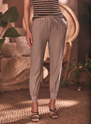 Pantalon à enfiler style jogger, Gris,  pantalon, jambe étroite, poches, lin, élastique, cordon, jogger, à enfiler, pull-on, chapter one, printemps été 2021
